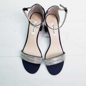 Elenora Navy Blue Heeled Sandals